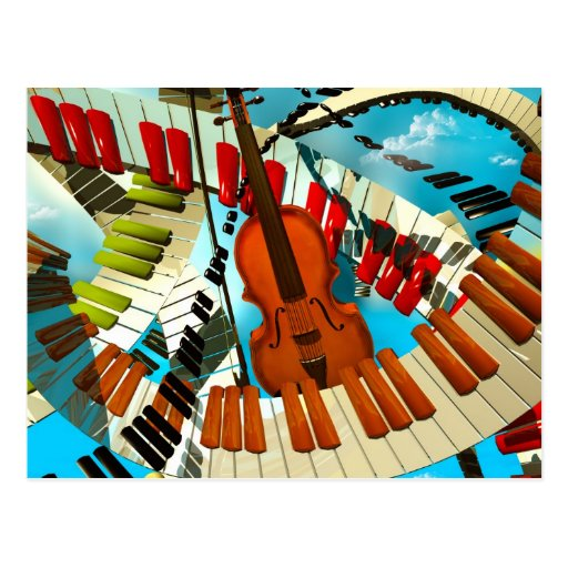 Piano de las pinturas de la música, guitarra eléct tarjeta postal