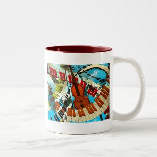 Piano de las pinturas de la música, guitarra eléct tazas de café