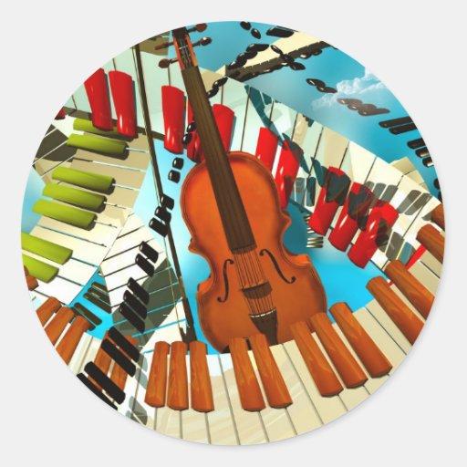 Piano de las pinturas de la música, guitarra pegatina redonda