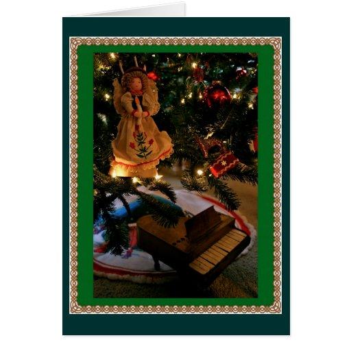 Piano debajo del árbol sueco tarjeta pequeña