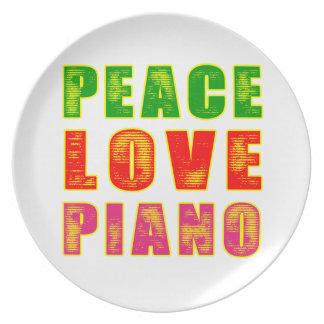 Piano del amor de la paz platos para fiestas