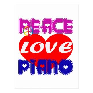 Piano del amor de la paz postales