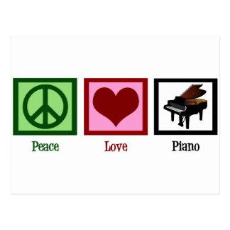 Piano del amor de la paz tarjeta postal