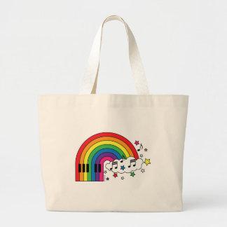 Piano del arco iris bolsa tela grande