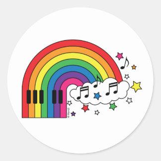 Piano del arco iris pegatina redonda