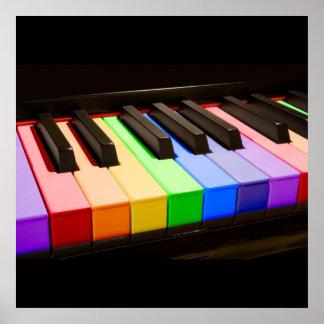 Piano del arco iris póster