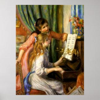 Piano del au de Pierre-Auguste Renoir - de Jeunes  Póster