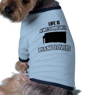 piano design dog tee shirt