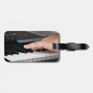 piano electric left hand playing keys music design bag tag
