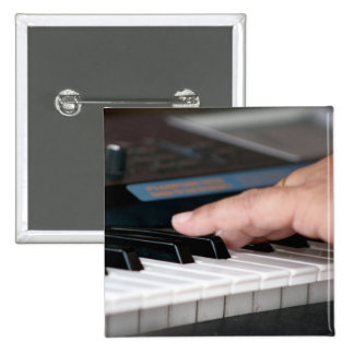 piano electric left hand playing keys music design pinback button