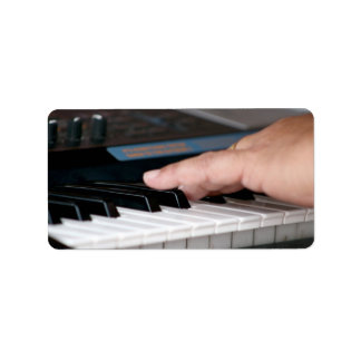 piano electric left hand playing keys music design address label