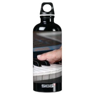 piano electric left hand playing keys music design water bottle
