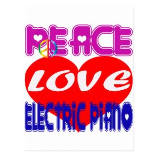 Piano eléctrico del amor de la paz tarjetas postales
