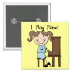 Piano - Female Tshirts and Gifts 2 Inch Square Button