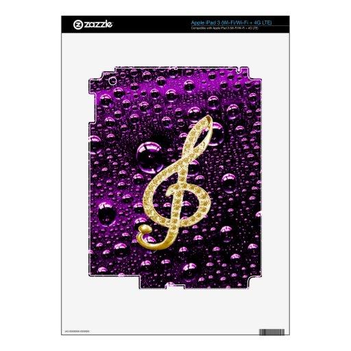 Piano Gclef del oro con la gota de lluvia Bakcgrou Pegatina Skin Para iPad 3