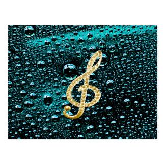 Piano Gclef del oro con la gota de lluvia Postal