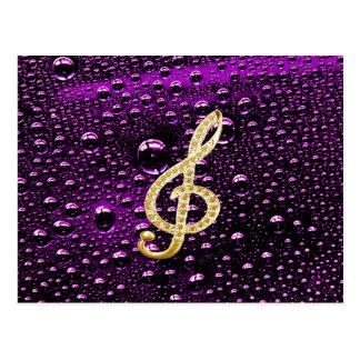 Piano Gclef del oro con la gota de lluvia Tarjeta Postal