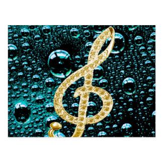 Piano Gclef del oro con la gota de lluvia Tarjetas Postales