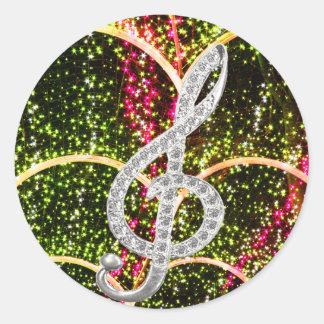 Piano Gclef Symbol Classic Round Sticker