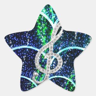 Piano Gclef Symbol Star Sticker