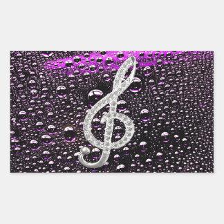 Piano Gclef Symbol with rain drop bakcground Rectangular Sticker