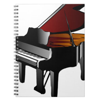 piano gloss black spiral notebook