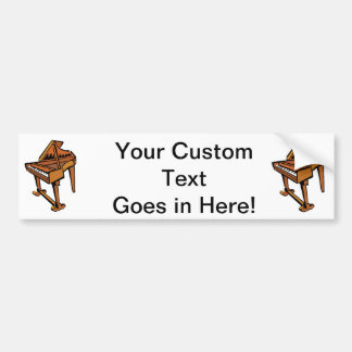 Piano, Grand Piano brown graphic musician image Bumper Sticker