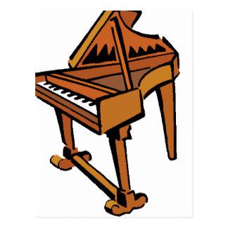Piano Grand Piano brown graphic musician image Post Card