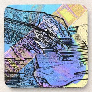 piano hands guitar neck hands pastel version beverage coaster