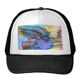 piano hands  guitar neck hands pastel version hat