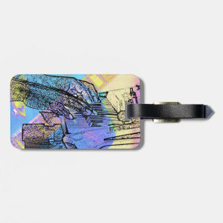 piano hands  guitar neck hands pastel version tags for luggage