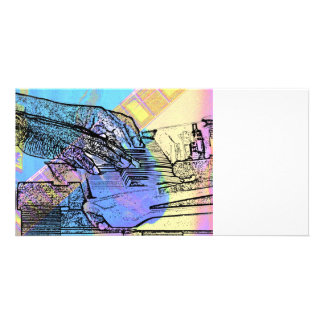 piano hands  guitar neck hands pastel version photo greeting card
