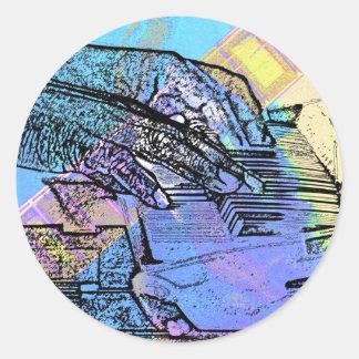 piano hands  guitar neck hands pastel version round sticker