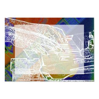piano hands invert over orange guitar neck hands 5x7 paper invitation card