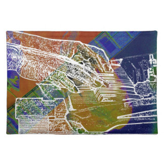 piano hands invert over orange guitar neck hands cloth placemat