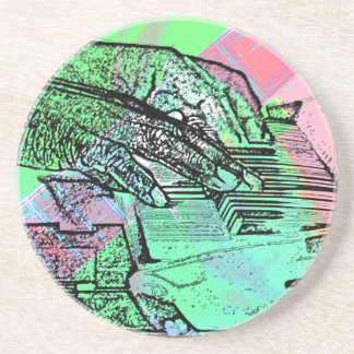 Piano hands over saturated guitar hand neck drink coasters