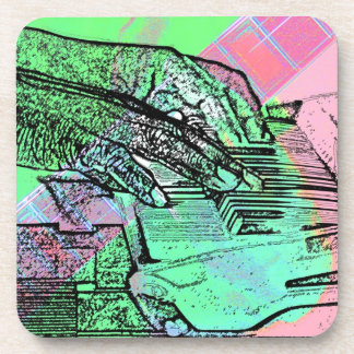 Piano hands over saturated guitar hand neck beverage coasters