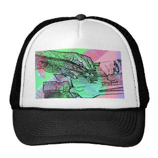 Piano hands over saturated guitar hand neck trucker hat