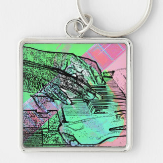 Piano hands over saturated guitar hand neck keychain