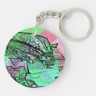 Piano hands over saturated guitar hand neck key chain