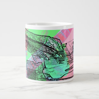 Piano hands over saturated guitar hand neck large coffee mug