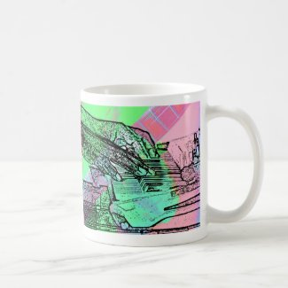Piano hands over saturated guitar hand neck coffee mugs