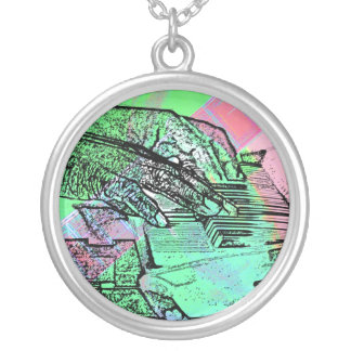 Piano hands over saturated guitar hand neck custom necklace