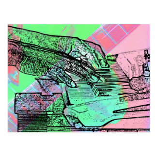 Piano hands over saturated guitar hand neck postcard