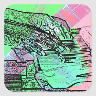 Piano hands over saturated guitar hand neck sticker
