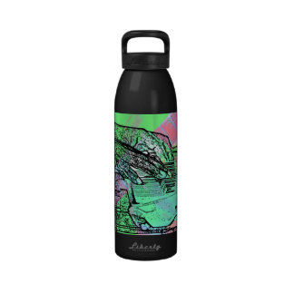 Piano hands over saturated guitar hand neck drinking bottle