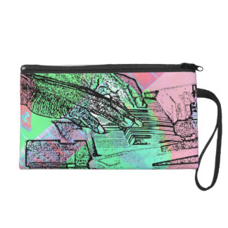Piano hands over saturated guitar hand neck wristlet purse