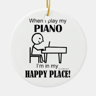 Piano Happy Place Ceramic Ornament