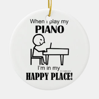 Piano Happy Place Christmas Ornaments