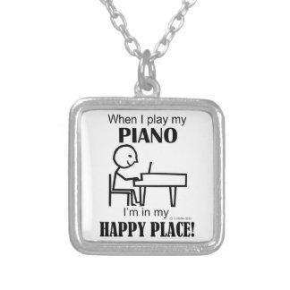 Piano Happy Place Square Pendant Necklace